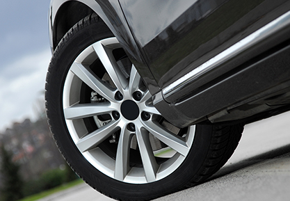 Close Up Front Left Tire On Car