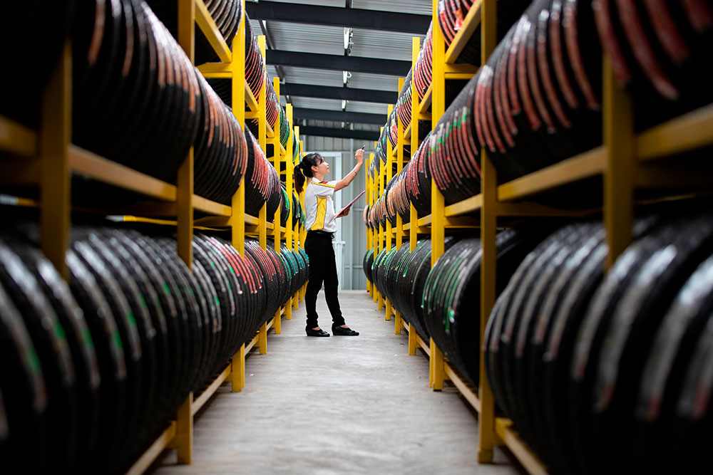 Woman Taking Inventory Of Tires